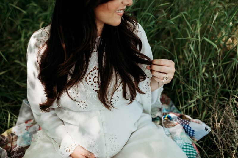 Salt Lake City Birth and Family Photography, pregnant mother sitting in tall grass