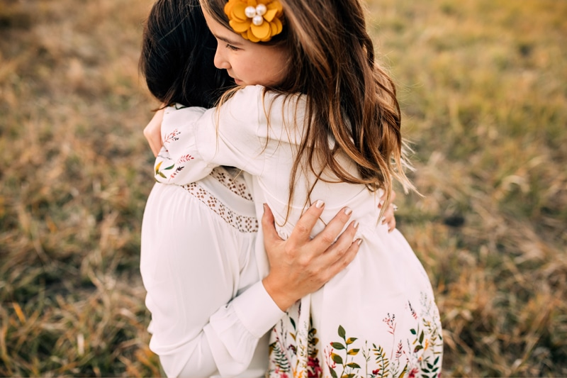 Salt Lake City Birth and Family Photography, daughter hugging mother