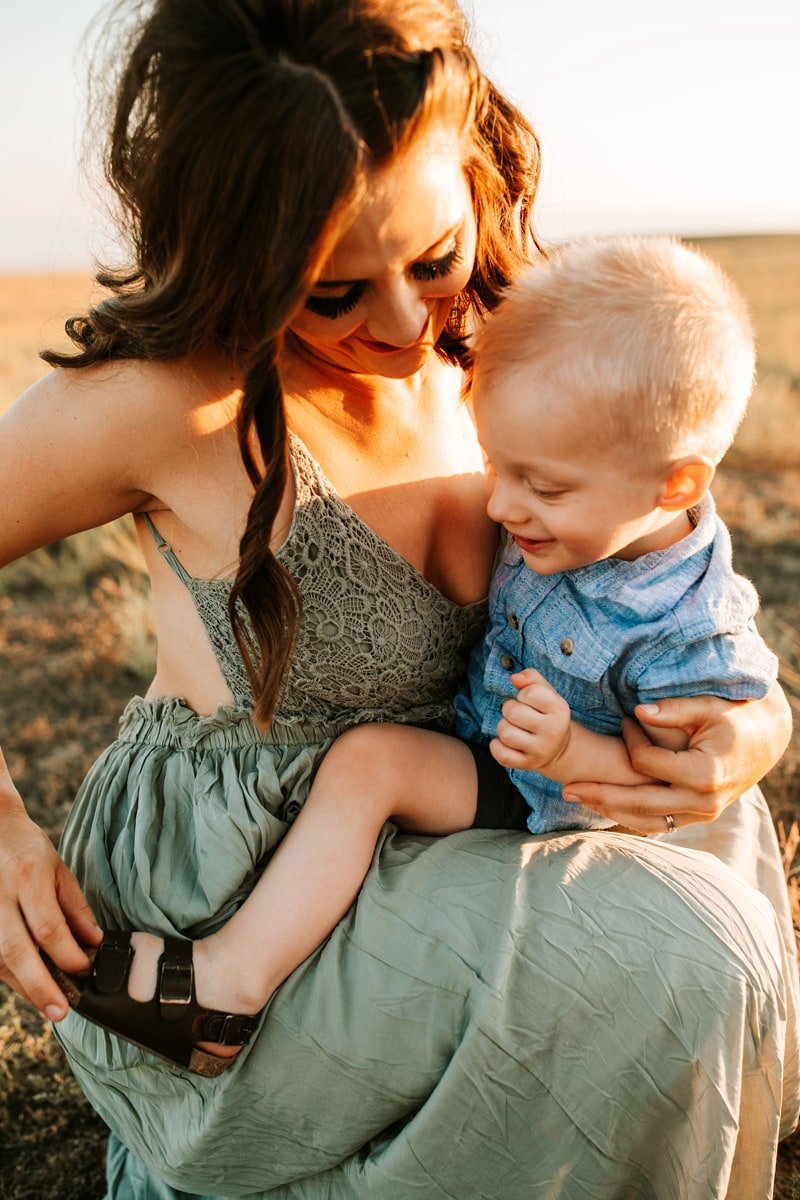 Salt Lake City Birth and Family Photography, mother kneeling down with toddler on her knee