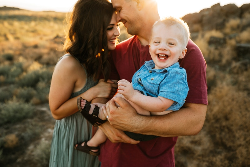 Salt Lake City Birth and Family Photography, family of three with little boy smiling at camera
